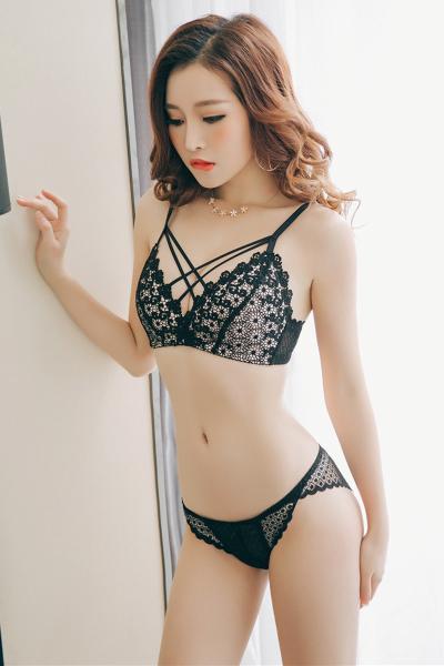 俏果儿(Qiaoguoer)美背胸罩蕾丝聚拢内衣女无钢圈性感文胸收副乳上托小胸3/4四季少女女士内衣