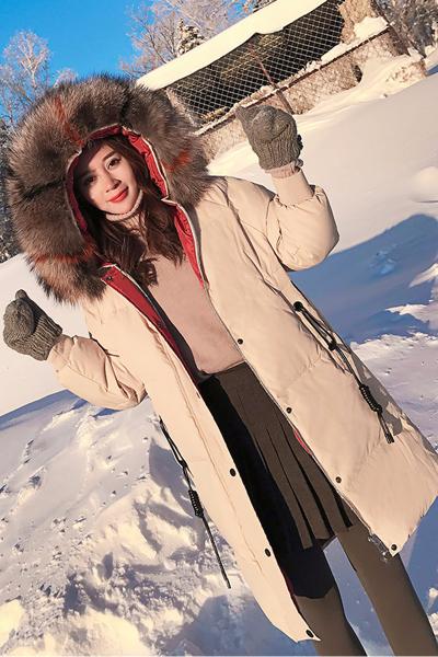 佐露丝 RALOS2019冬装新款女装时尚貉子毛领羽绒服女中长款加厚外套韩版