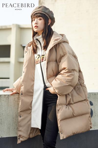 太平鸟女装冬装新款高领假两件白鸭绒羽绒服女中长款羽绒衣女