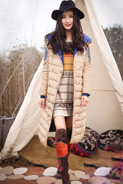 LIEBO裂帛冬装新款刺绣连帽两面穿白鸭绒超长羽绒服女51150953