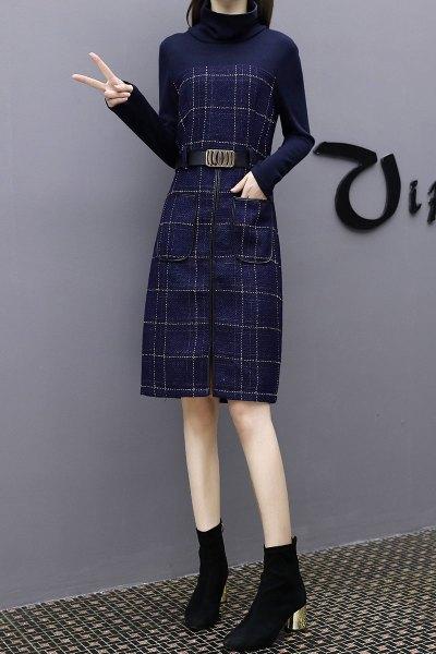 与牧秋冬季连衣裙女新款2018长袖气质A字裙一步裙中长款修身包裙3632
