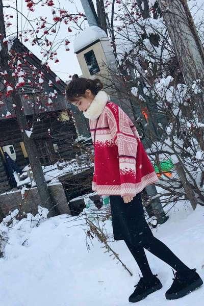 千仙仙 学生韩版小清新软妹圣诞毛衣配裙子两件套套装女秋冬季小个子女生