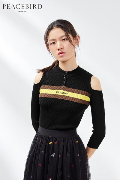 套头针织衫女春装2019新款修身七分袖露肩性感时尚上衣太平鸟女装