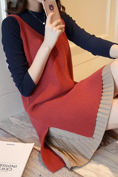 佐露絲RALOS 2020秋冬装新款韩版两件套长袖针织连衣裙女宽松裙子百搭套装裙