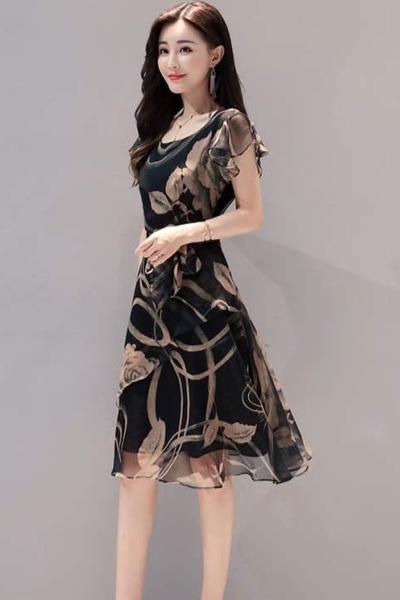 【节奏曲】 夏季新款女装韩版显瘦大码印花雪纺连衣裙时尚气质短袖A字中长裙