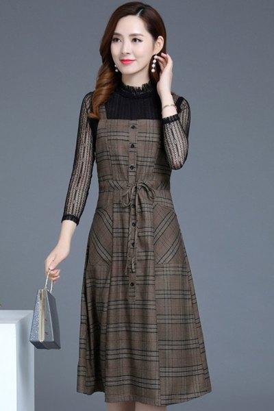 愫惠君秋装女2018新款套装时尚两件套背带裙气质有女人味的格子连衣裙8576