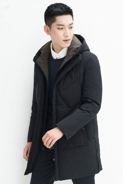 yaloo/雅鹿羽绒服男 中长款冬季新款男士保暖外套修身连帽潮