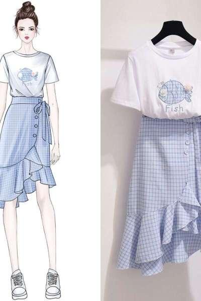 小样传奇 格子鱼尾裙套装长裙女慵懒chic极简主义imiss裙子两件套连衣裙夏