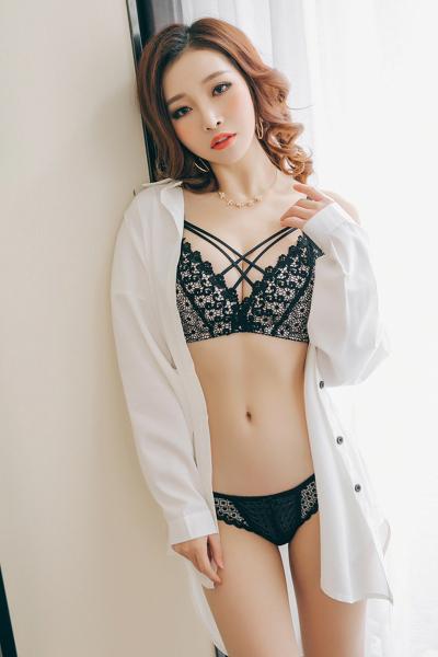 俏果儿(Qiaoguoer)蕾丝美背胸罩聚拢内衣女无钢圈性感文胸收副乳上托小胸3/4四季少女女士内衣