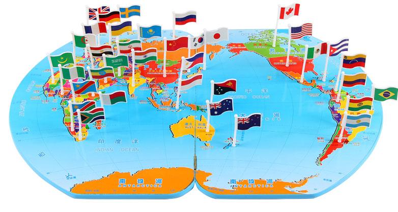 木制插国旗世界地图拼图早教益智记忆力插国旗