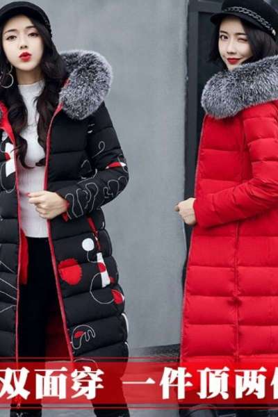 2018新款冬季女装加长羽绒服双面可穿带帽毛领长款外套