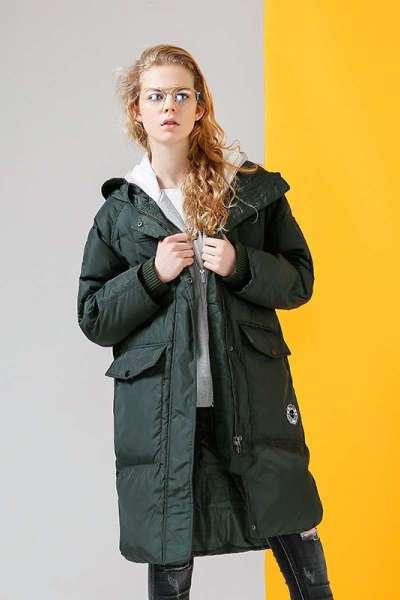 初語秋冬新款中長款羽絨服過膝 加厚連帽綠色直筒女裝外套