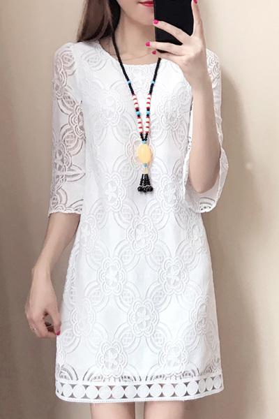 佐露絲RALOS蕾丝连衣裙春季2019新款大码女装中长款韩版时尚夏装修身显瘦
