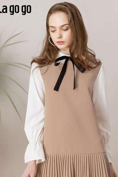 Lagogo/拉谷谷a字百褶法式复古连衣裙少女IALL453G64