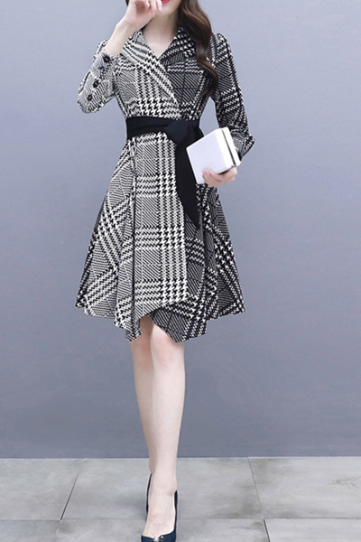 子沫雨JMOORY早秋新款连衣裙2018新款韩版女装不规则修身收腰格子大码时尚裙子