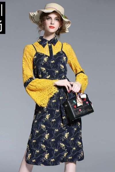 2018春秋套装欧美女装喇叭袖蕾丝性感带碎花连衣裙假两件套黄色