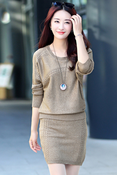 子沫雨JMOORY2018秋装新款女士韩版时尚针织包臀连衣裙毛衣套装