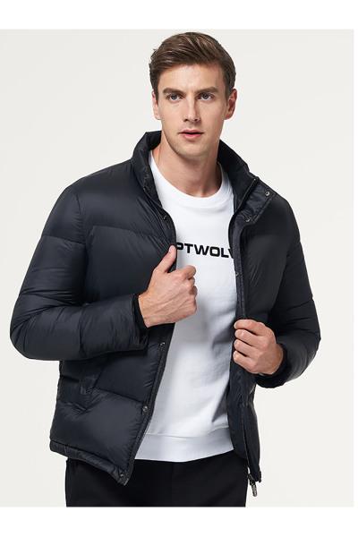 七匹狼羽絨服青年男士冬季時尚短款立領保暖厚羽絨服外套