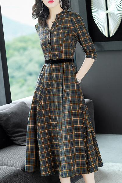 小样传奇 2018新款复古英伦大摆长裙收腰通勤格子连衣裙女装秋季