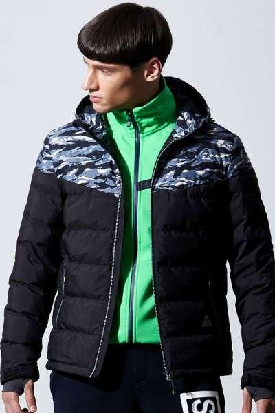 七匹狼运动户外羽绒服男士冬季时尚休闲连帽拼迷彩保暖外套