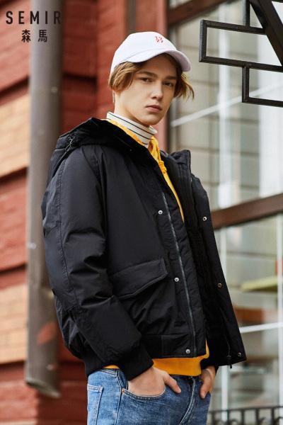 Semir森马羽绒服男潮款冬季加厚短款外套男士连帽冬装户外防风