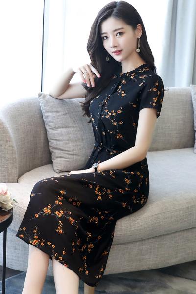 佐露絲RALOS 2018夏季女装新款气质小碎花短袖连衣裙长款收腰显瘦雪纺印花长裙